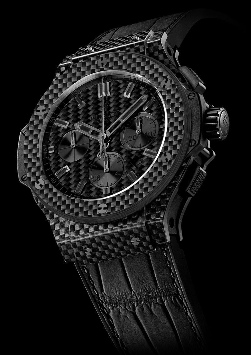 Hublot big bang all black carbon fiber watch jam tangan
