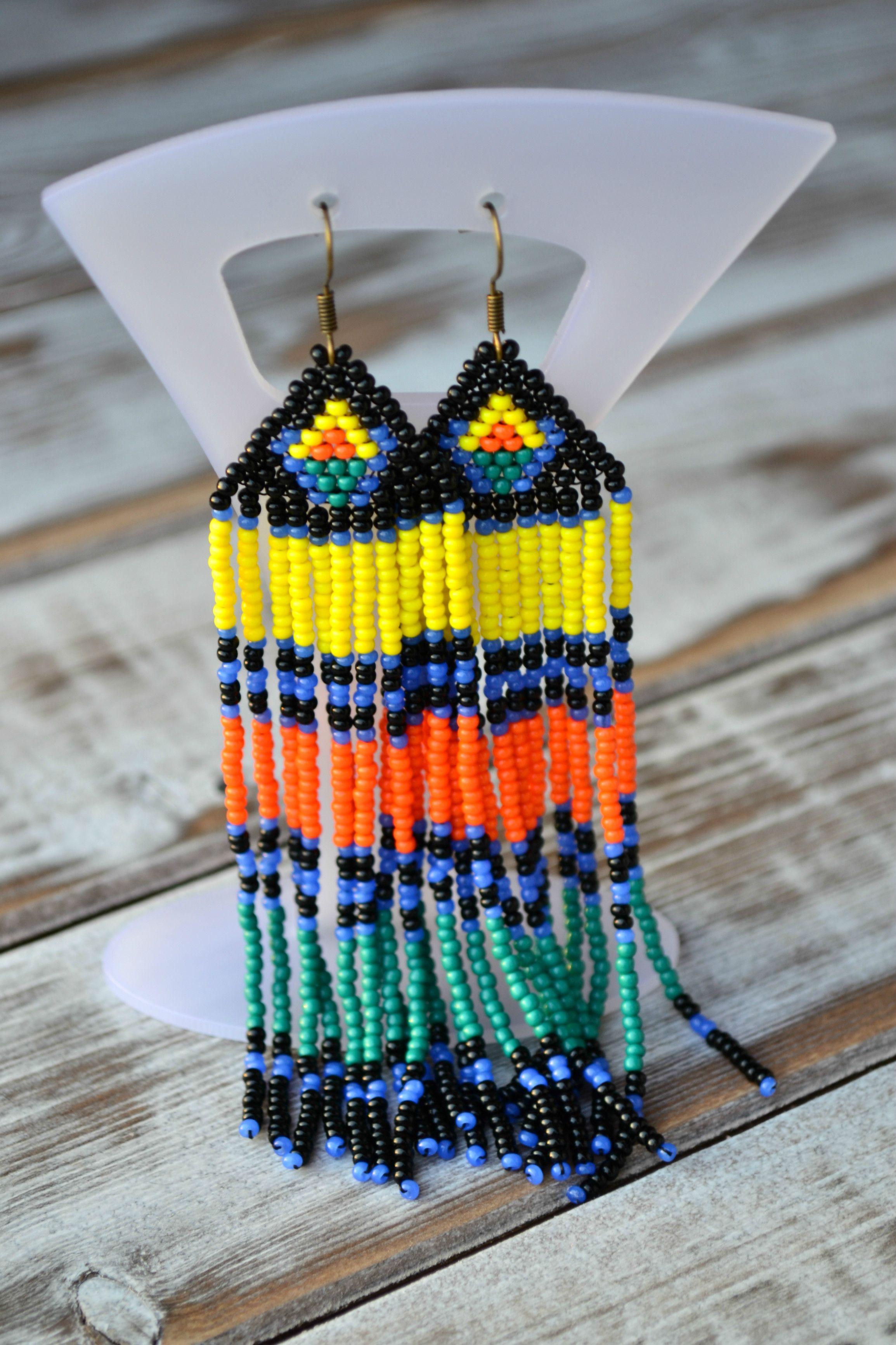 Extra long colorful fringe earrings