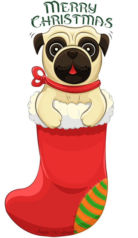 Christmas Pug by ScribalWriter Pugs, Artesanato e faça
