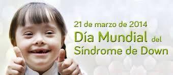 21 de marzo 2014. Día mundial del Síndrome de Down.  Un vídeo dedicado a estos angelitos y angelitas que caminan por la tierra y que llenan de felicidad nuestra vidas. http://www.youtube.com/watch?v=JVMm5uMkw1g