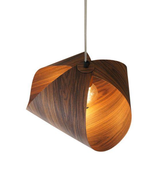 TRASPORTO LIBERO - lampada pendente di legno- Lampada impiallacciato tinta - legno pendente del ...