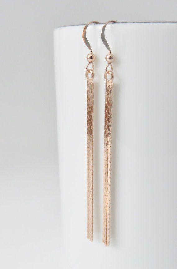 Rose Gold Tel Earrings Fringe By Marciahdesigns