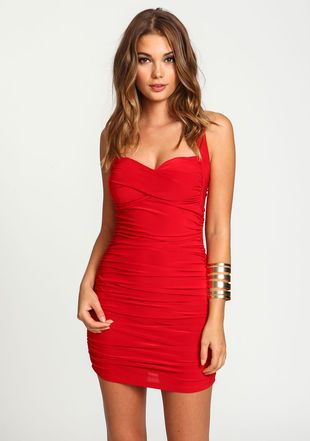 Sweetheart Wrapped Ruche Dress, RED