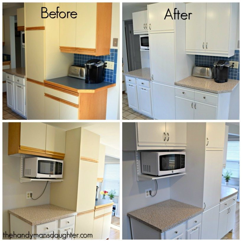 Painting Wood Trim White Before And After: Tips For Updating Melamine Cabinets With Oak Trim