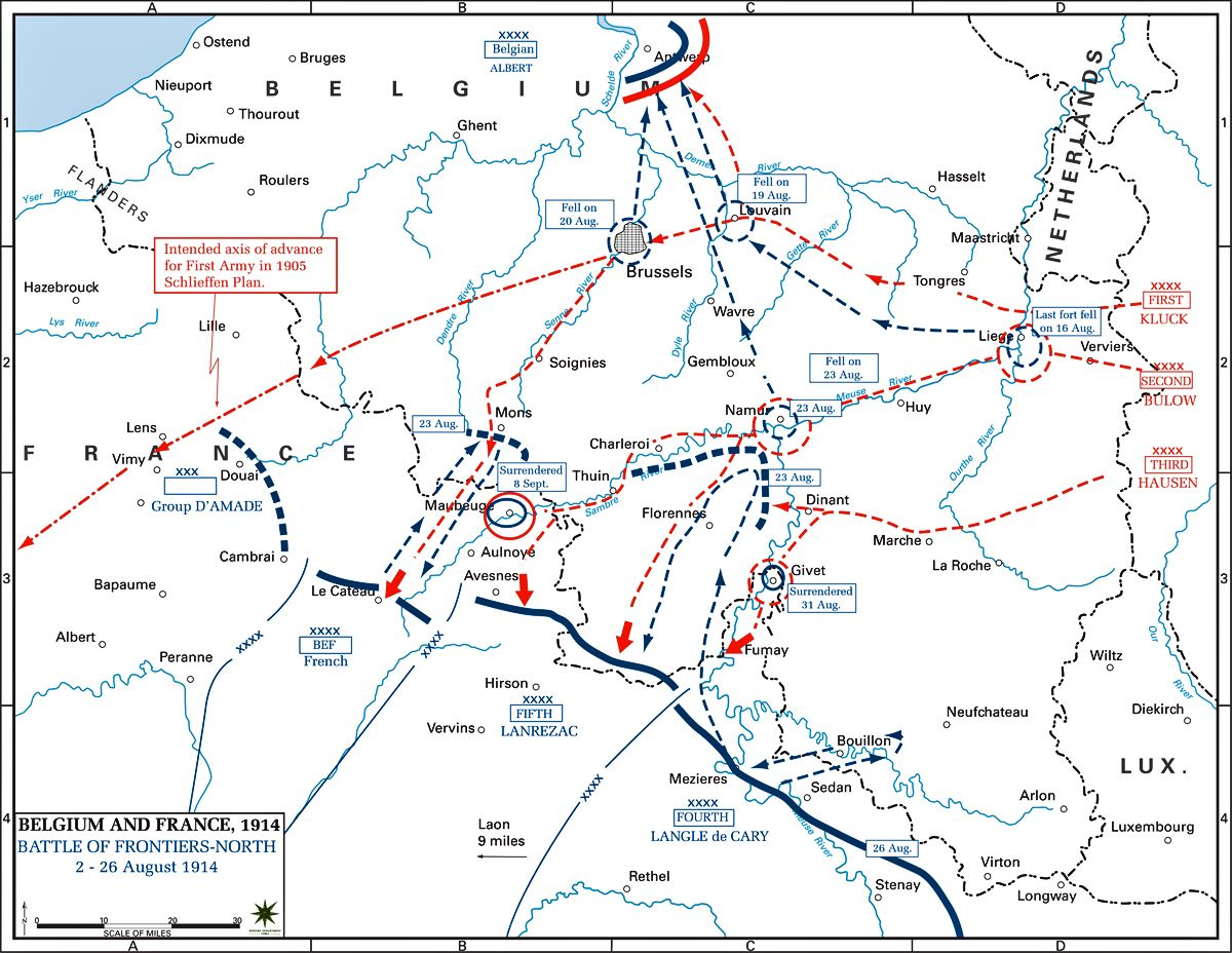 21-24 augustus - Battles of Charleroi and Mons map - Battle of ...