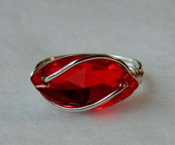 Swarovski Red Siam Crystal Navette Ring by jewelrysldesigns, $17.95
