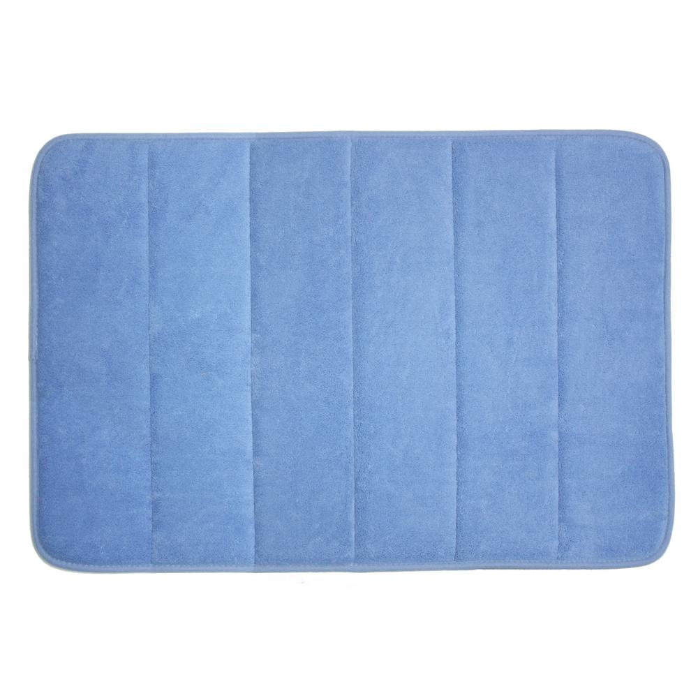 J And M Home Fashions 17 In X 24 In Smoke Blue Memory Foam Bath