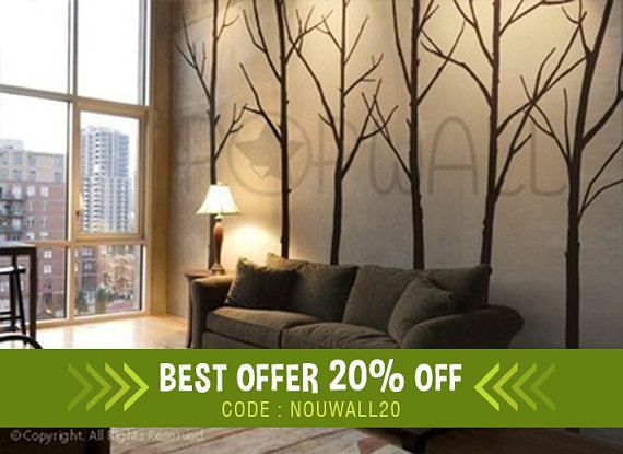 winter tree wall decal - living room wall decals wall sticker, home