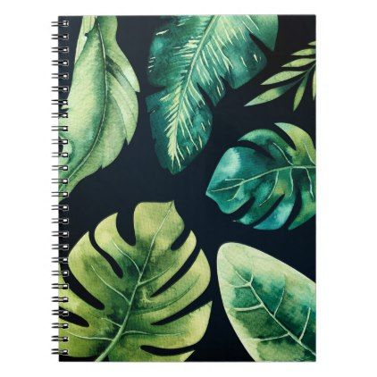 Green Tropical Leaves Black Elegant Chic Summer Notebook Zazzle Com Tropical Leaves Book Cover Diy Cool Notebooks Download realistic tropical leaves frame for free. green tropical leaves black elegant