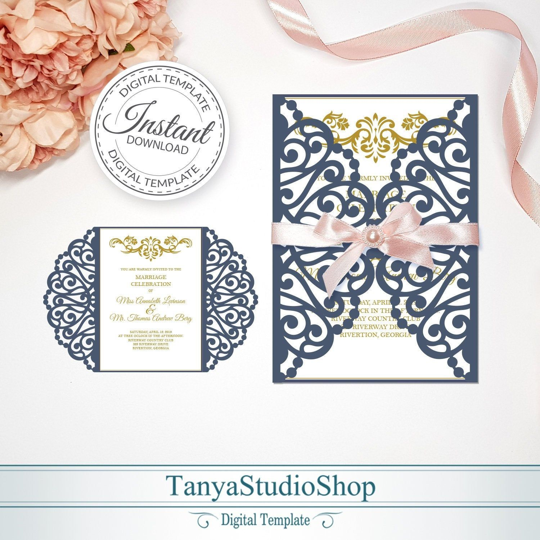 Gate-fold 5x7'' invitation template SVG ai CRD | Etsy | Invitation template,  Wedding invitations diy handmade, Invitations