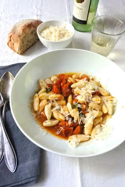 Stove-Top Slow-Roasted Tomato-Basil Sauce with Ricotta Cavatelli