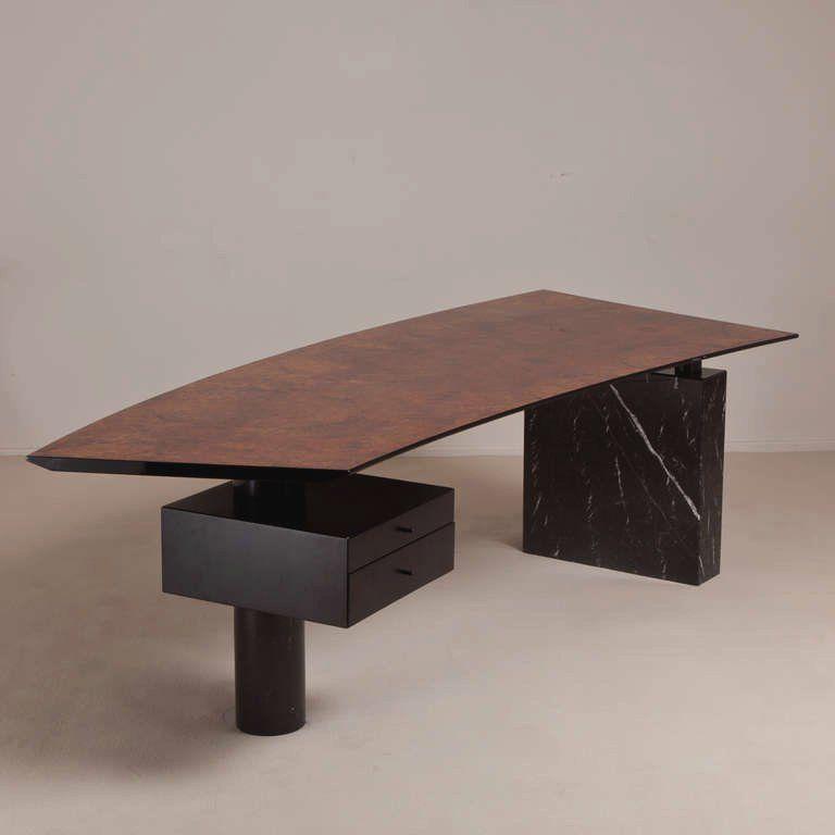 A Superb Italian Burlwood And Marble Pedestal Desk 1960 70s 3