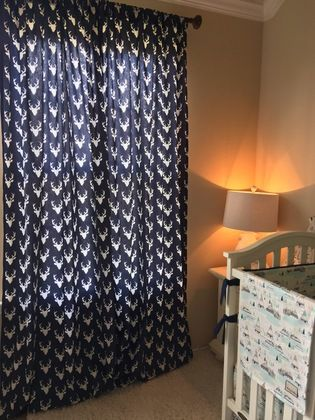 Navy Deer Curtain Panels