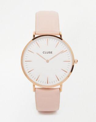 Reloj de cuero en color dorado rosa y rosa CL18014 La Boheme de CLUSE