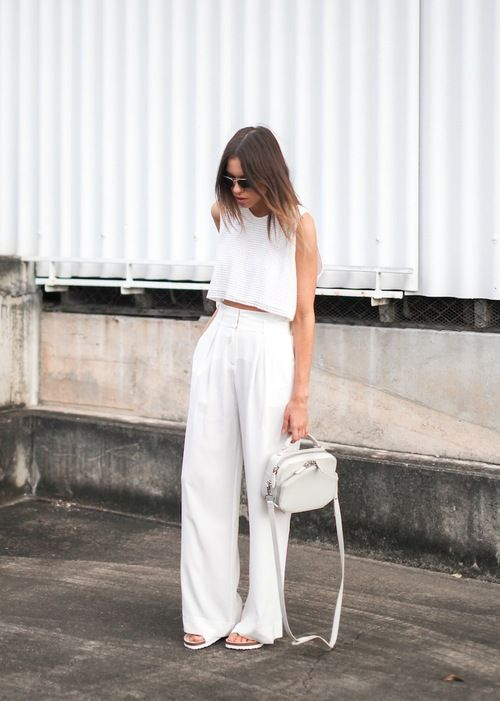 all white outfit wide leg tailored high waisted white pant with matching white crop top #summerwhites