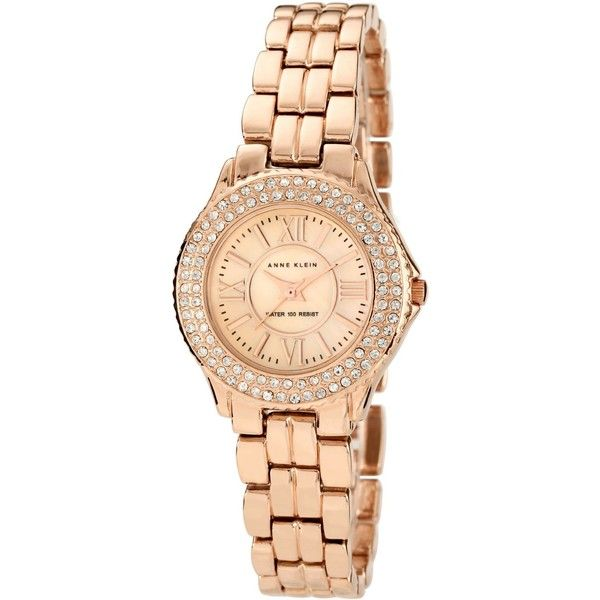Anne Klein Watch, Women's Rose Gold Tone Adjustable Bracelet 28mm 10-9536rmrg ($85) found on Polyvore