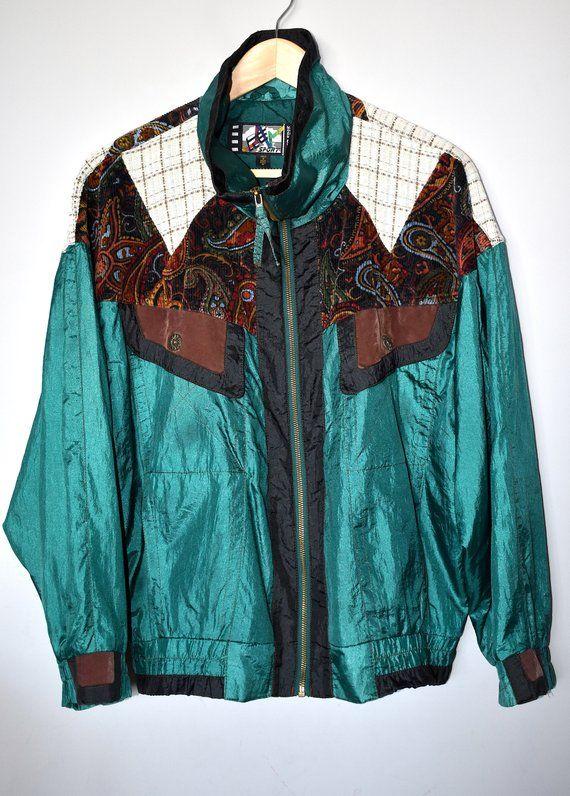 Vintage 90's print sports jacket Green & multi print zip up