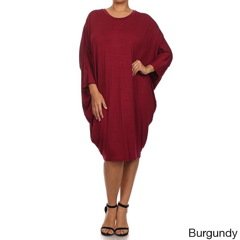 3fa484265c1 MOA Collection Women s Plus Size Draped Dress (Burgundy (Red) - 3X) (