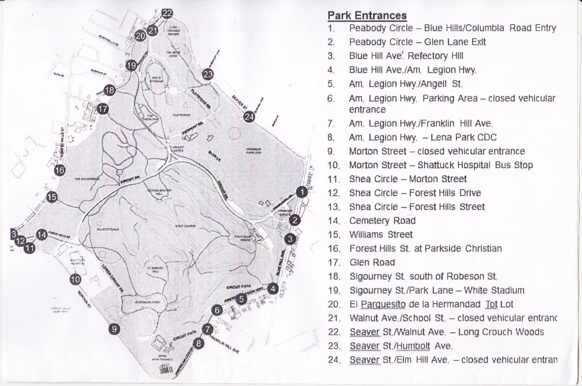 Franklin Park Locator Map Designed By The Boston Police Dept And The