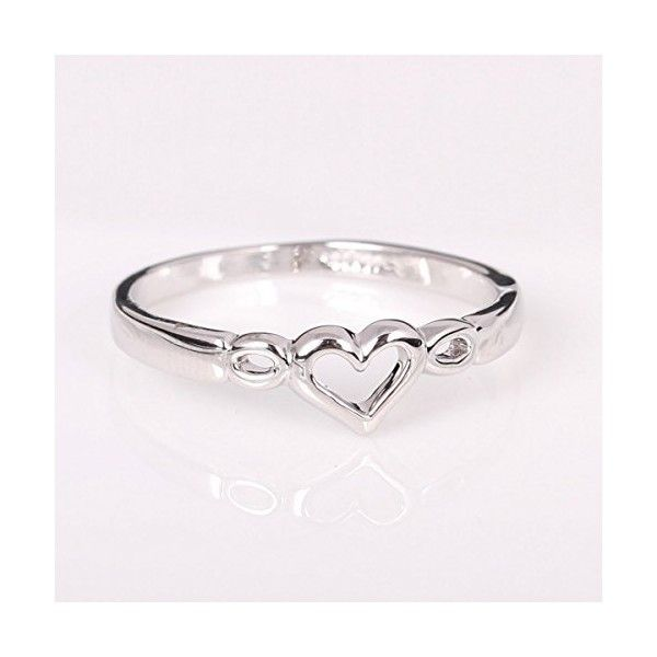FAIRY COUPLE White Gold Hollow Heart Ring R333 41 DKK ❤ liked