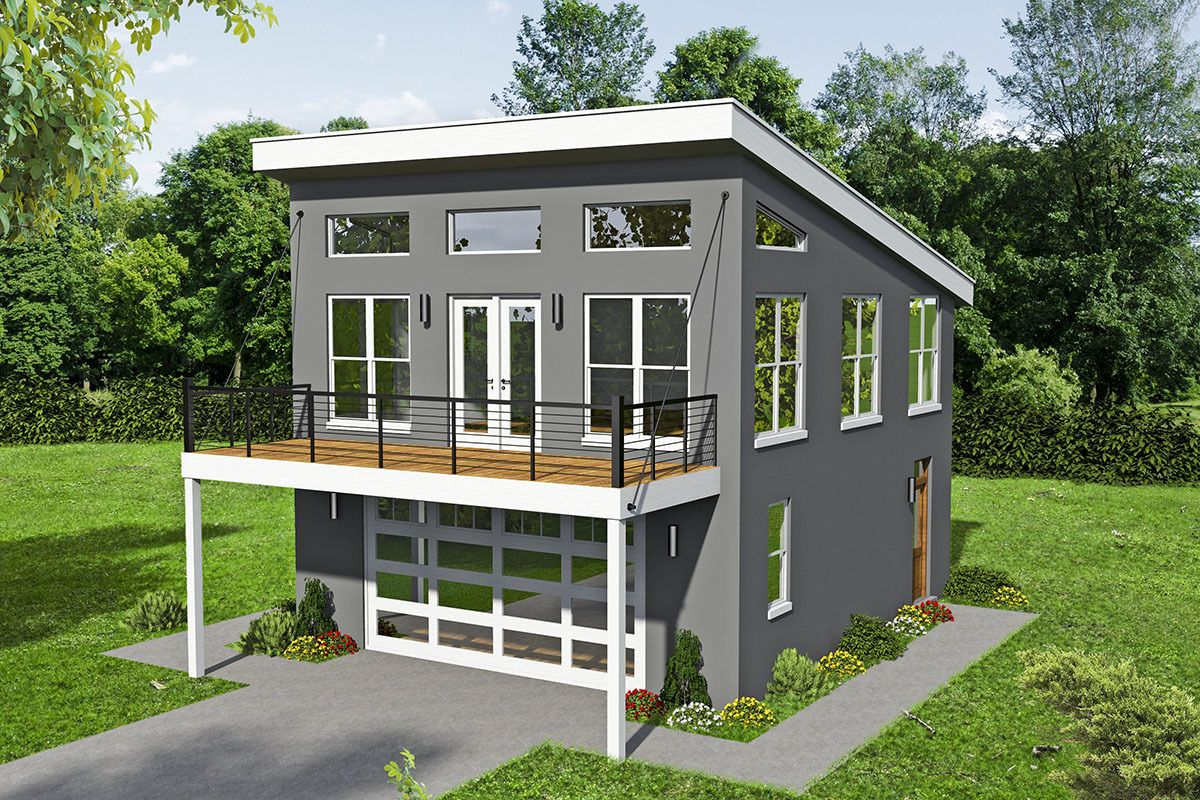 Plan 68605VR: Modern Carriage House Plan with Sun Deck ...