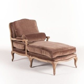 French Chaise Vintage Brown Velvet