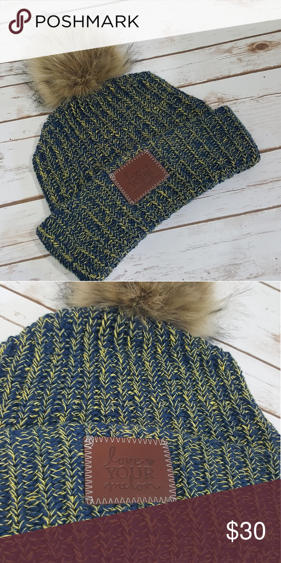 6f99e7645b0 NWOT LOVE YOUR MELON Pom Beanie Beautiful Blue and Yellow Pom Beanie MAKE  AN OFFER NEVER WORN Love Your Melon Accessories Hats
