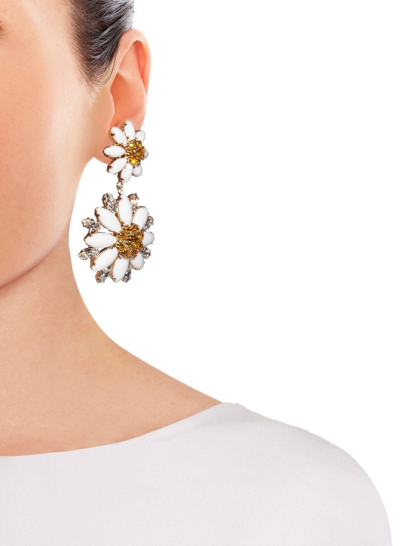 Embellished daisy earrings Dolce Gabbana MATCHESFASHIONCOM