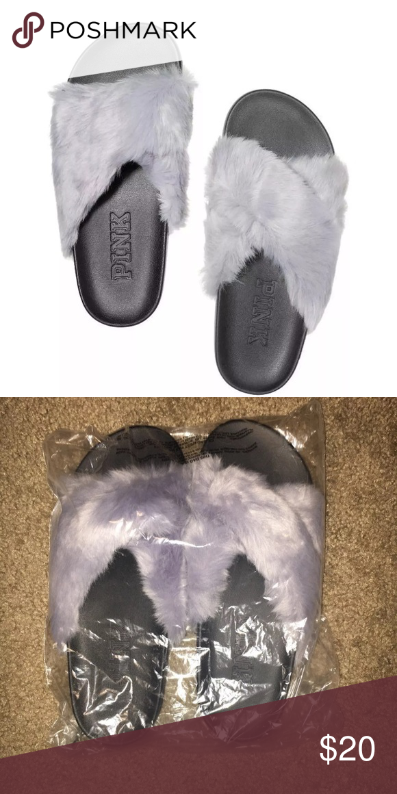 b12abf9d81806 ⚜️VS Pink Slides⚜ New in package faux fur crisscross slides by ...