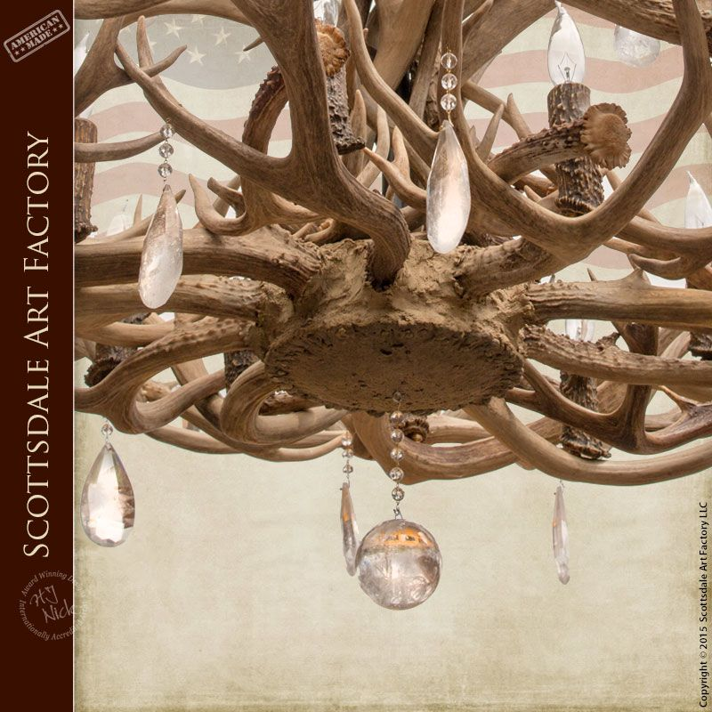 antler chandelier with waterford crystals la211 decor