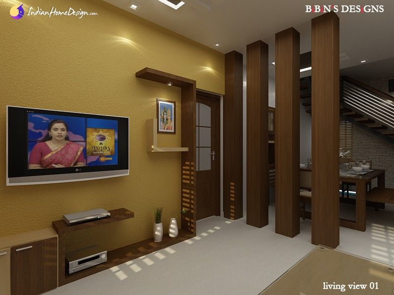 Modern living room with wooden partition design ideas by for Living room partitions designs