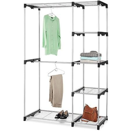 Whitmor Double Rod Freestanding Closet, Silver/Black   Walmart.com $49.24