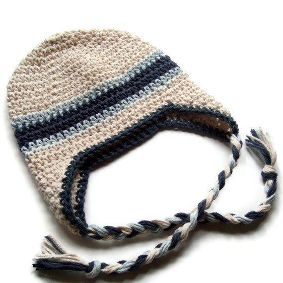 Boys Crochet Hat, Baby Boy Hat, Boys Winter Hat, Earflap Beanie Hat ...