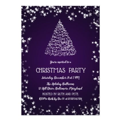 Beautiful Christmas Tree Stars Party Purple Card Christmas