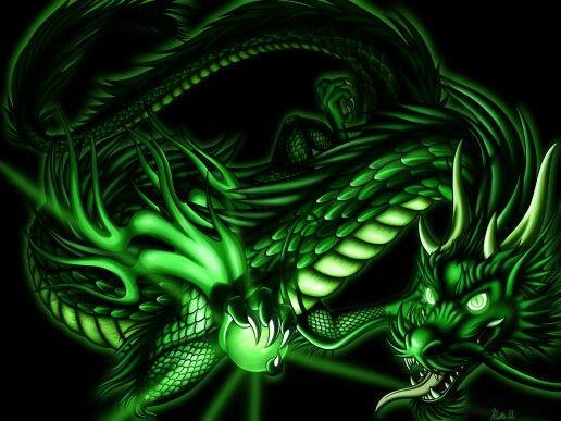 grüner drache neon
