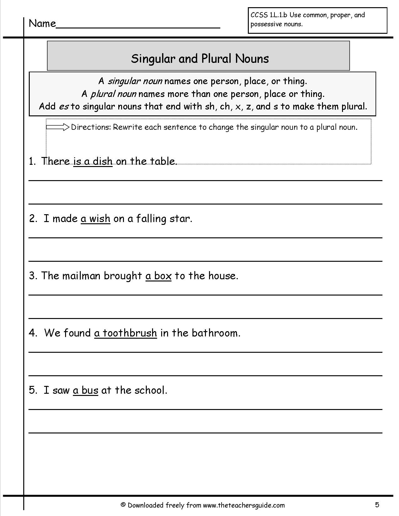 Nouns Worksheets | Singular and Plural Nouns Worksheets