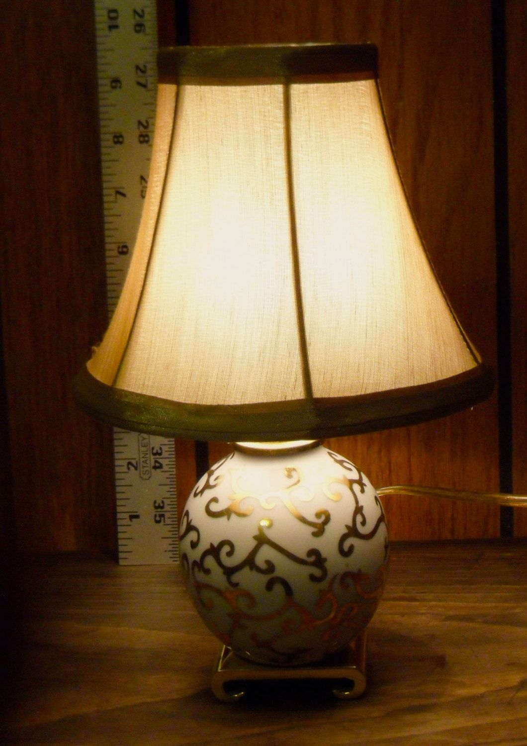 Vintage Golden Shade White Porcelain Small 10 High Table Lamp Electric Decor High Table Table Lamp Lamp