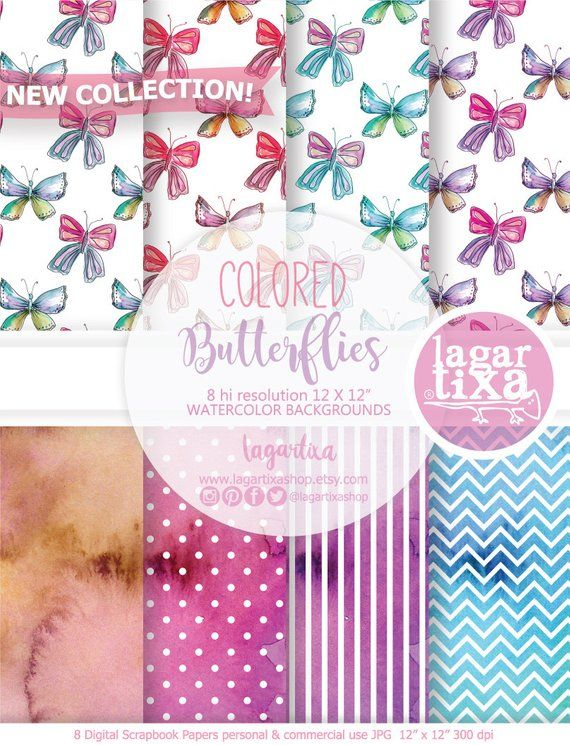 watercolor digital paper patterns butterflies patterns digital