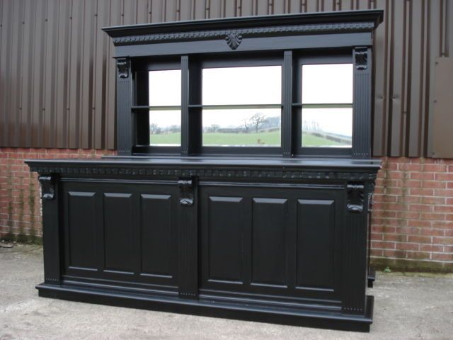 2.6m Solid Mahogany Pub Bar Counter & Back, in Black, Drinks Home ...