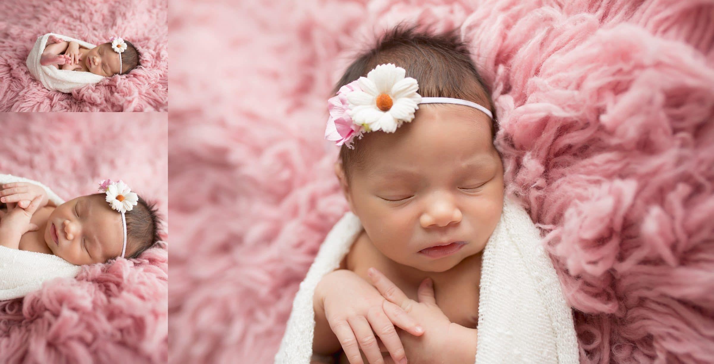 Sweet little girl in pink temple texas newborn photographer