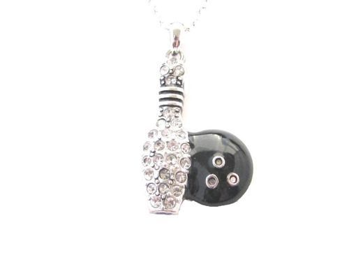 Bowling Crystal Charm On Silver Plated Necklace