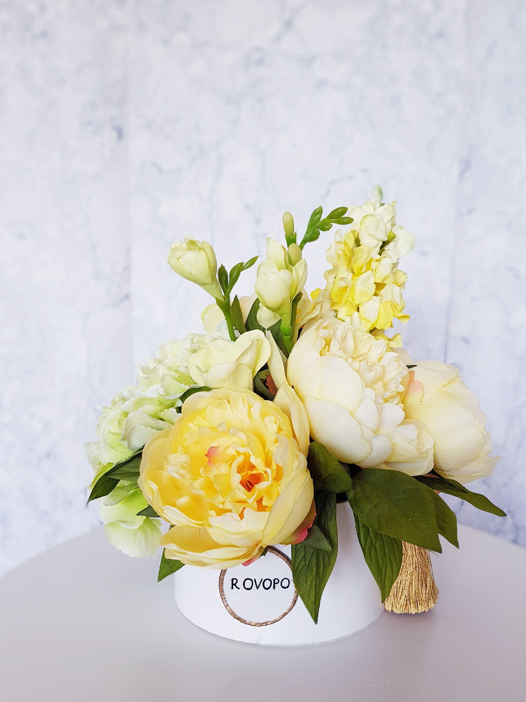 Yellow Peonies Mixed Flowers Box Home Decor Artificial Flower Arrangement Wedding Birthday Luxury Bouquet Yellow Peonies Artificial Flower Arrangements