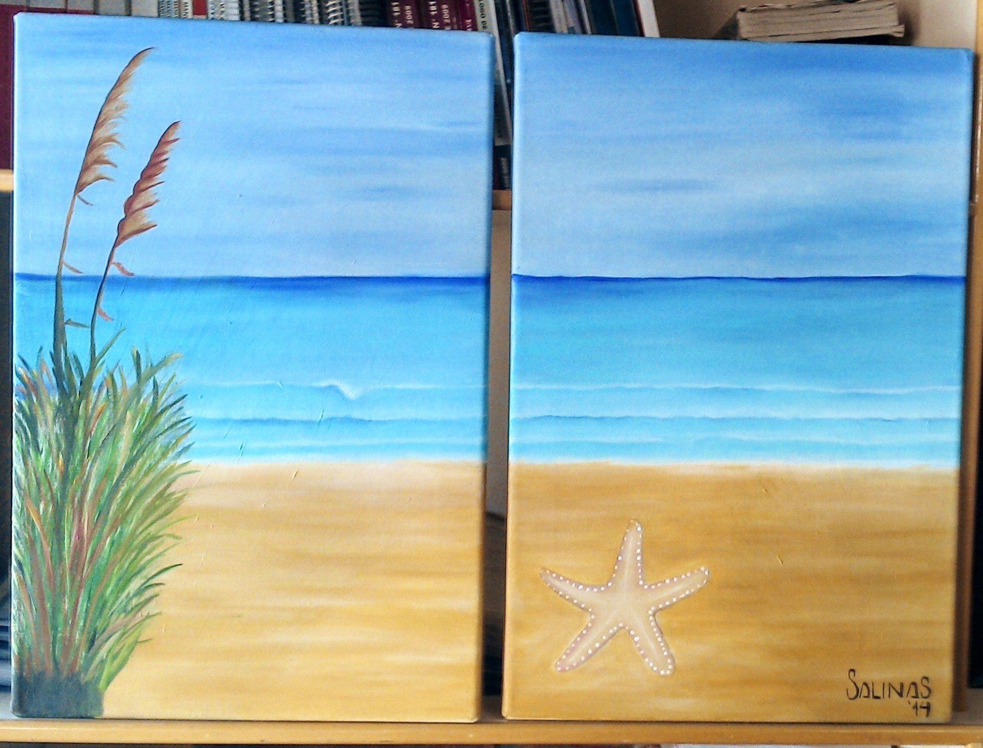 Cuadro bastidor sobre lienzo al oleo paisaje de playa con for Cuadros en bastidor