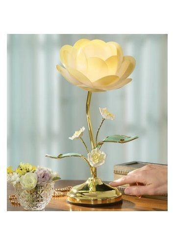 Yellow Table Lamp with Lotus Design Collections Etc Lotus Flower Touch Lamp