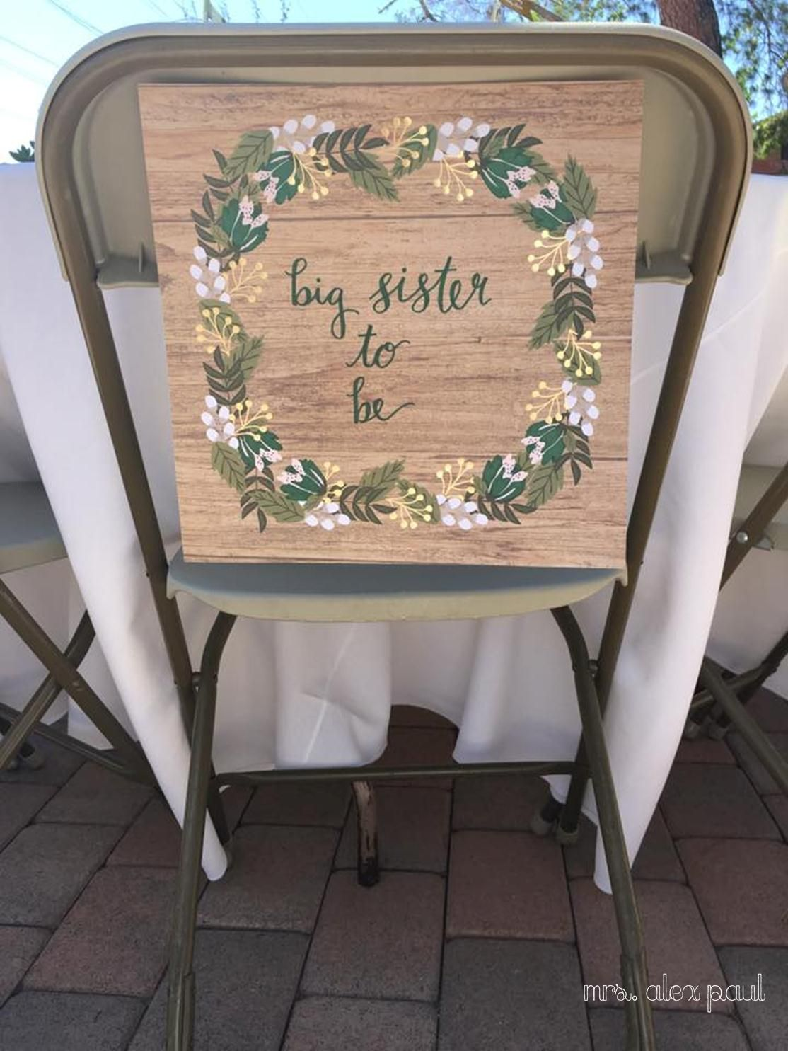 Big White Chair For Baby Shower : white, chair, shower, Sister-to-be, Chair, Rustic, Shower, Green, Shower,, Chair,, Inspiration