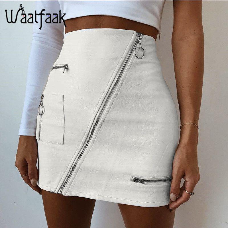Waatfaak De En Poche Pu Jupes Solide Split Cuir Zipper Blanc Femmes LpjVqUMSzG