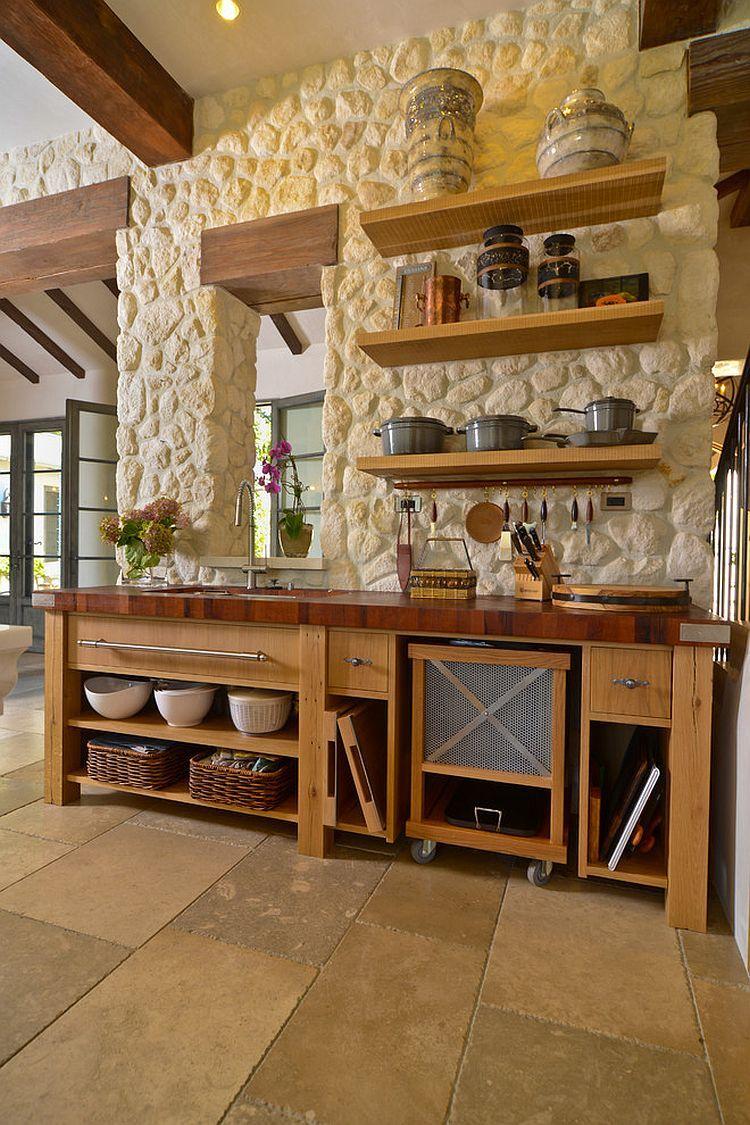 30 Inventive Kitchens With Stone Walls Mediterranean Kitchen
