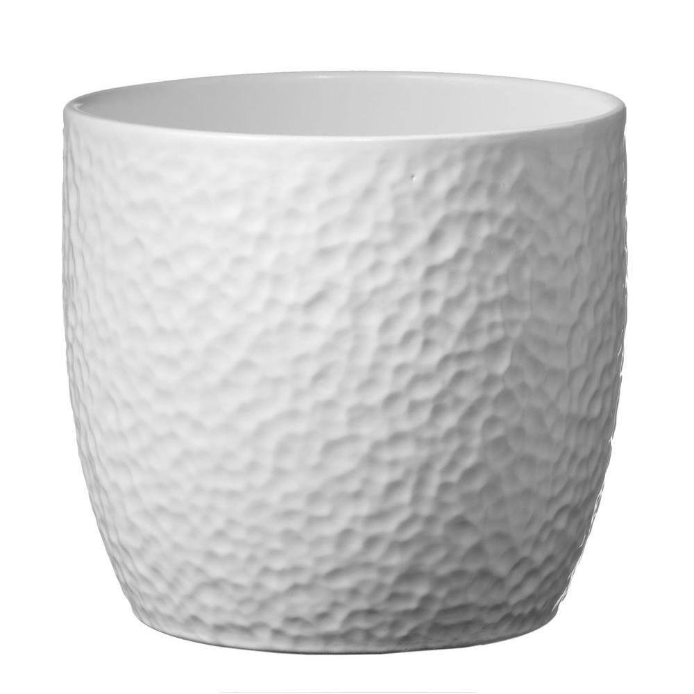 Sk Boston 8 In White Ceramic Planter 004900210847 The Home Depot White Ceramic Planter Ceramic Pot Ceramic Plant Pots