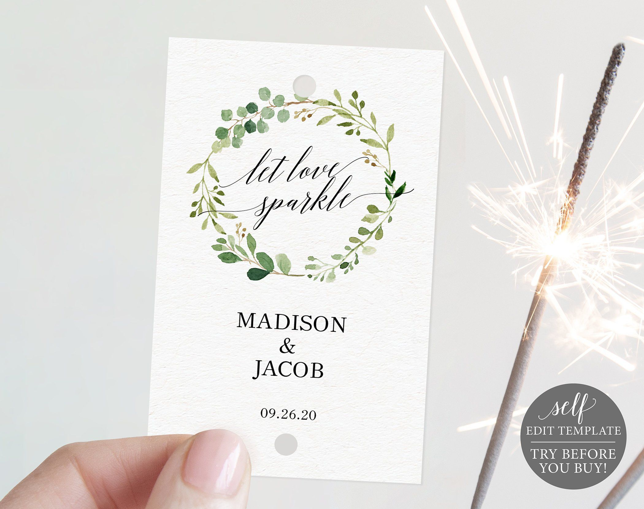 Sparkler Tag Template, Greenery, Editable Instant Download
