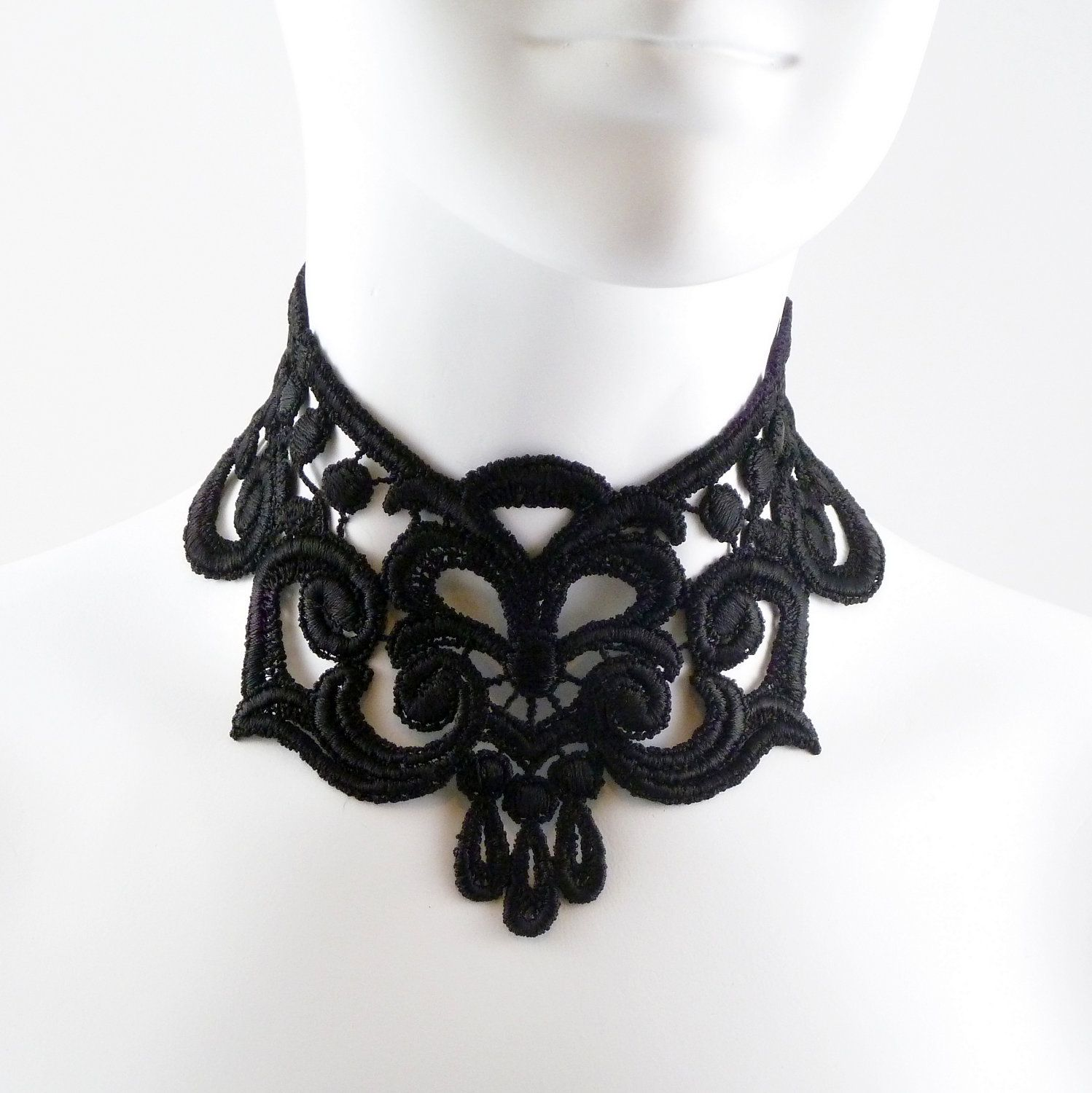 Intense Gothic Black Lace Choker Necklace Full Neck Large Chocker in Victorian Fashion Style - Goth Vampire Costume Fabric Jewelry Dark. $29.00 USD, via Etsy.